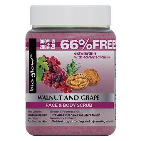 BIO GLOW Walnut , Grape, Face And Body Scrub 500 ml