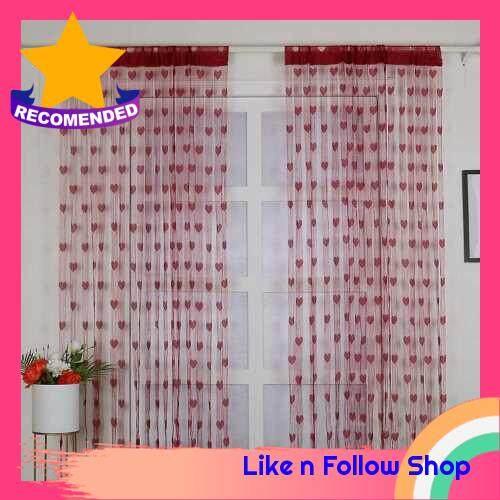 2Pcs 100*200cm Novelty Heart Decor Window Room Line Curtain Romantic String Tassel Door Curtain Divider Room Wall Decoration (Burgundy)