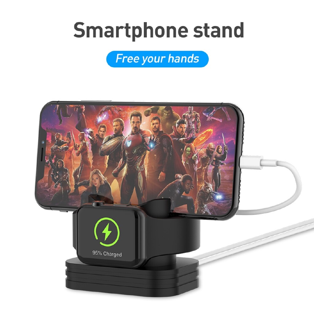 Phone Holder & Stand - Mobile phone bracket Dual Charging stand Charge the Apple watch and smartphone - WHITE / BLACK