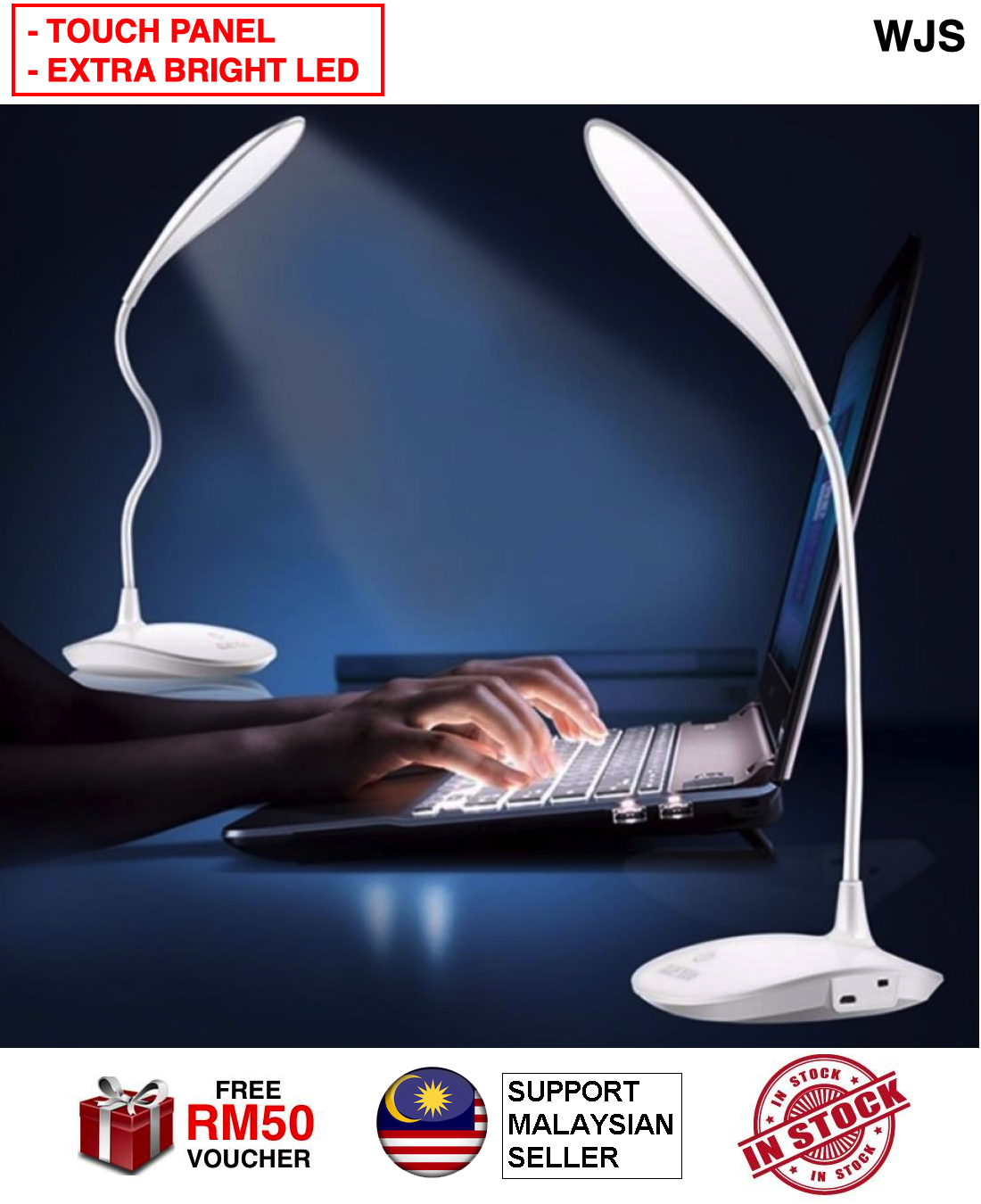 (HIGHER LUMINANCE) WJS Flexible 3 Level Brightness LED Touch Light USB Charging Touch Switch Small Desk Table Lamp Table Light Table LED Student Dormitory Desk Lamp BLUE WHITE PINK [FREE RM 50 VOUCHER]