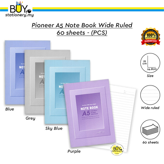 Pioneer A5 Note Book Wide Ruled 60 sheets – (PCS)