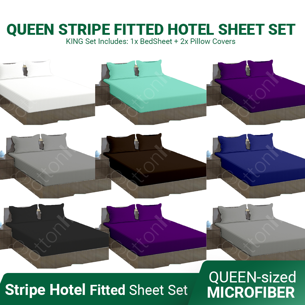 QUEEN Bamboo Stripe Hotel Like Fitted Bed Sheet Set ~ QUEEN Size (Horizontal Stripes) - Affordable Sperior Quality Microfiber Fabric