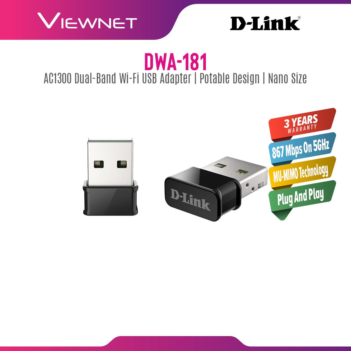 D-Link Wireless USB Adapter AC1300 MU-MIMO Wi-Fi Nano USB Adapter (DWA-181), 2.4GHz, 5GHz,