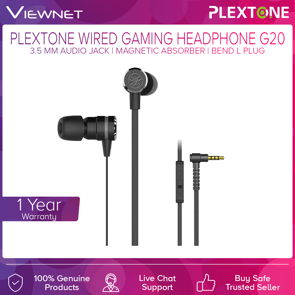 Plextone G15 3.5 MM Audio Jack Wired Gaming Headphone with Magnetic Absorber, Bend L Plug