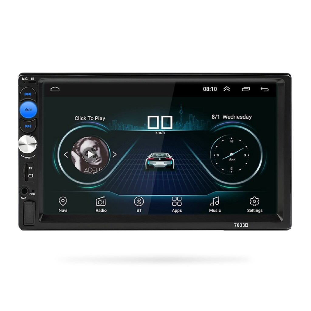 Vehicle GPS - 7'' Inch Quad Core Android 8.0 2 Din Car DVD Player WIFI 3G Stereo Player BT - Car Electronics