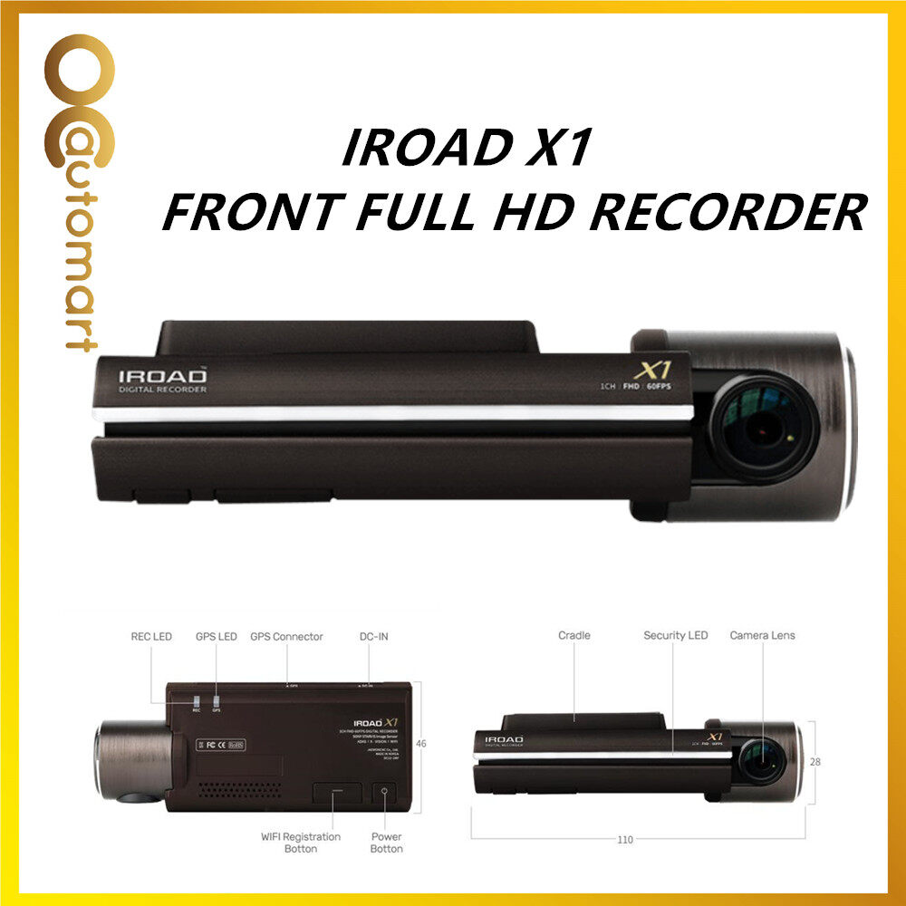 IROAD X1 DVR CAR RECORDER FRONT 1 Channel FULL HD 1080 NIGHT VISION Free 32GB Memory Card