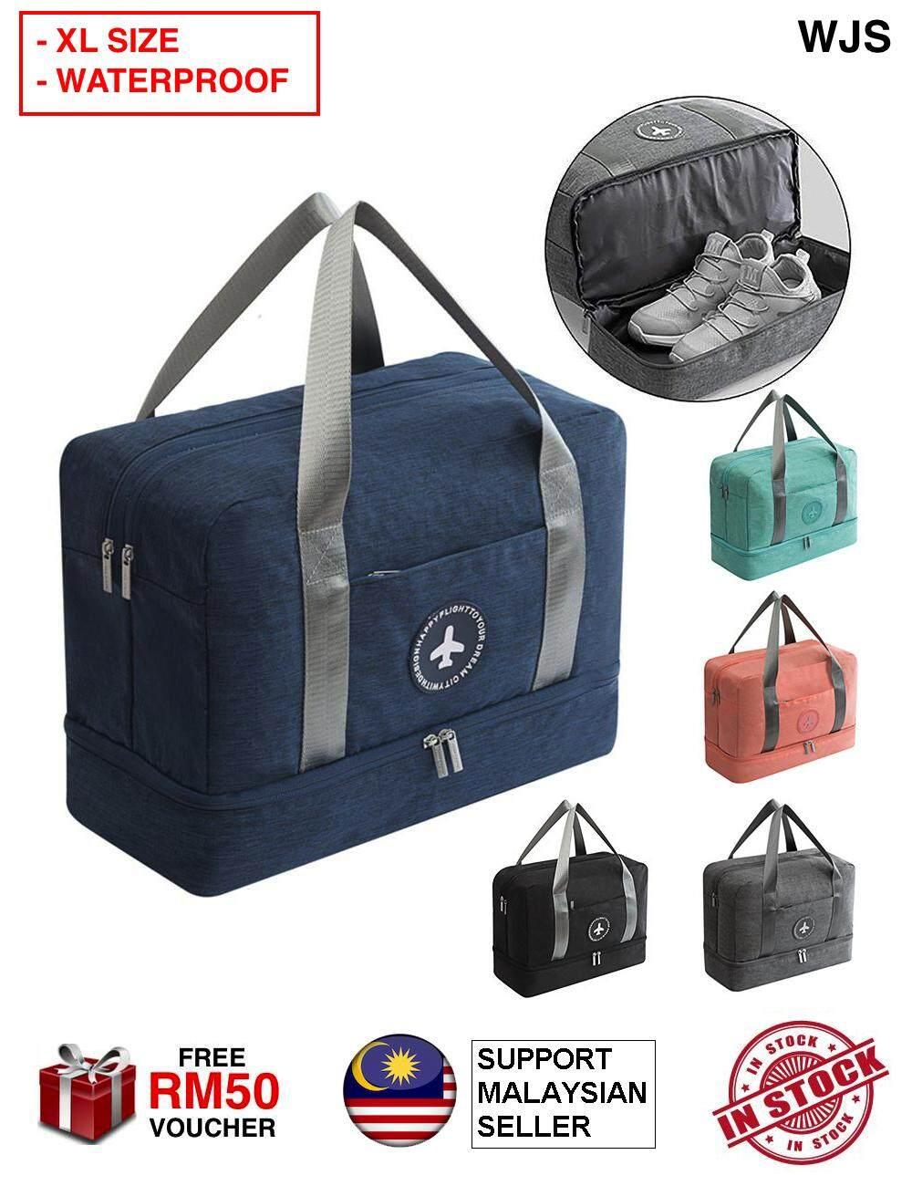 (LARGE SIZE) WJS Waterproof Travel Weekender Bag with Large Shoe Compartment Waterproof Gym Bag Shoe Swim Bag Gym Bag Travel Bag Traveling Bag Holiday Bag Holiday Luggage Weekender Bags Dry Wet Depart Mesh Tote Bag MULTICOLOR [FREE RM 50 VOUCHER]