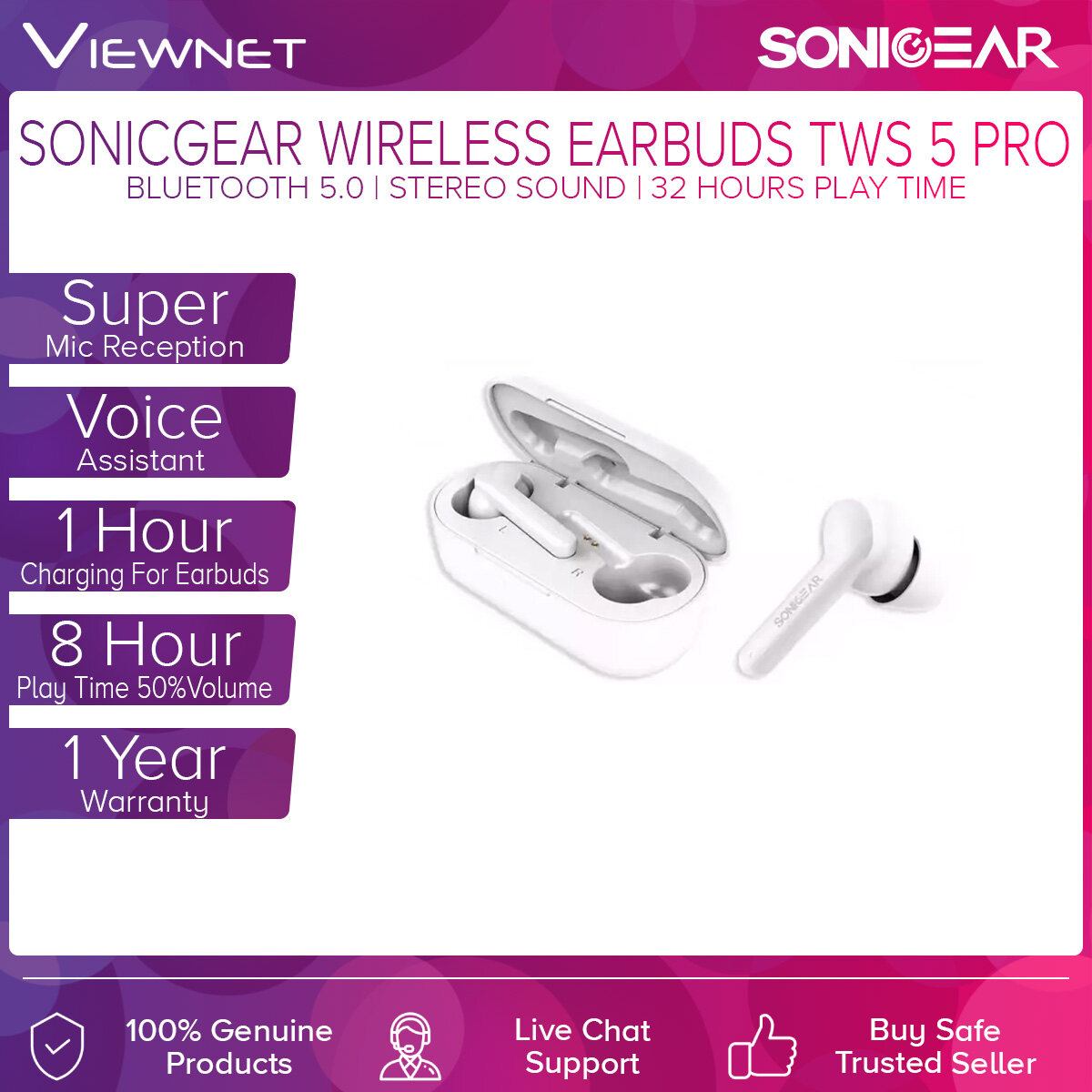 SonicGear Wireless Earbuds TWS 5 Stereo Sound with Bluetooth 5.0, Super Mic Reception, Ergonomic In Ear Design, Voice Assistant, 8 Hour Music Play Time (50% Volume) + 24 Hour for Battery Case