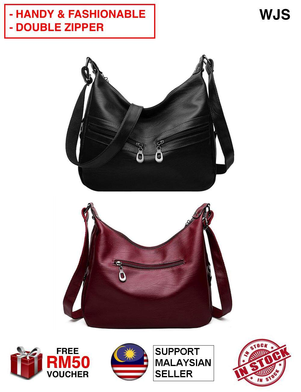 (HANDY DUAL ZIPPER) WJS Women Lady Hobos Messenger Dual Zipper Handbag PU Leather Tote Bag Shoulder Bag Fashion with Pocket Messenger Tote Shoulder Bag Satchel Crossbody Handbag Hand Bag Beg Tangan Handbeg BLACK RED [FREE RM 50 VOUCHER]