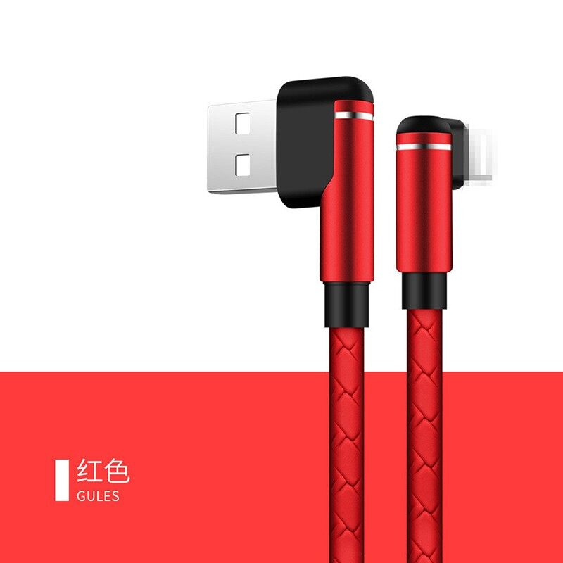 Double Elbow Braided Fast Charging USB Cable 90 Degree Mobile Game for Iphone - RED WITH COLOR BOX / BLUE WITH COLOR BOX / WHITE WITH COLOR BOX / BLACK WITH COLOR BOX / GOLD WITH COLOR BOX