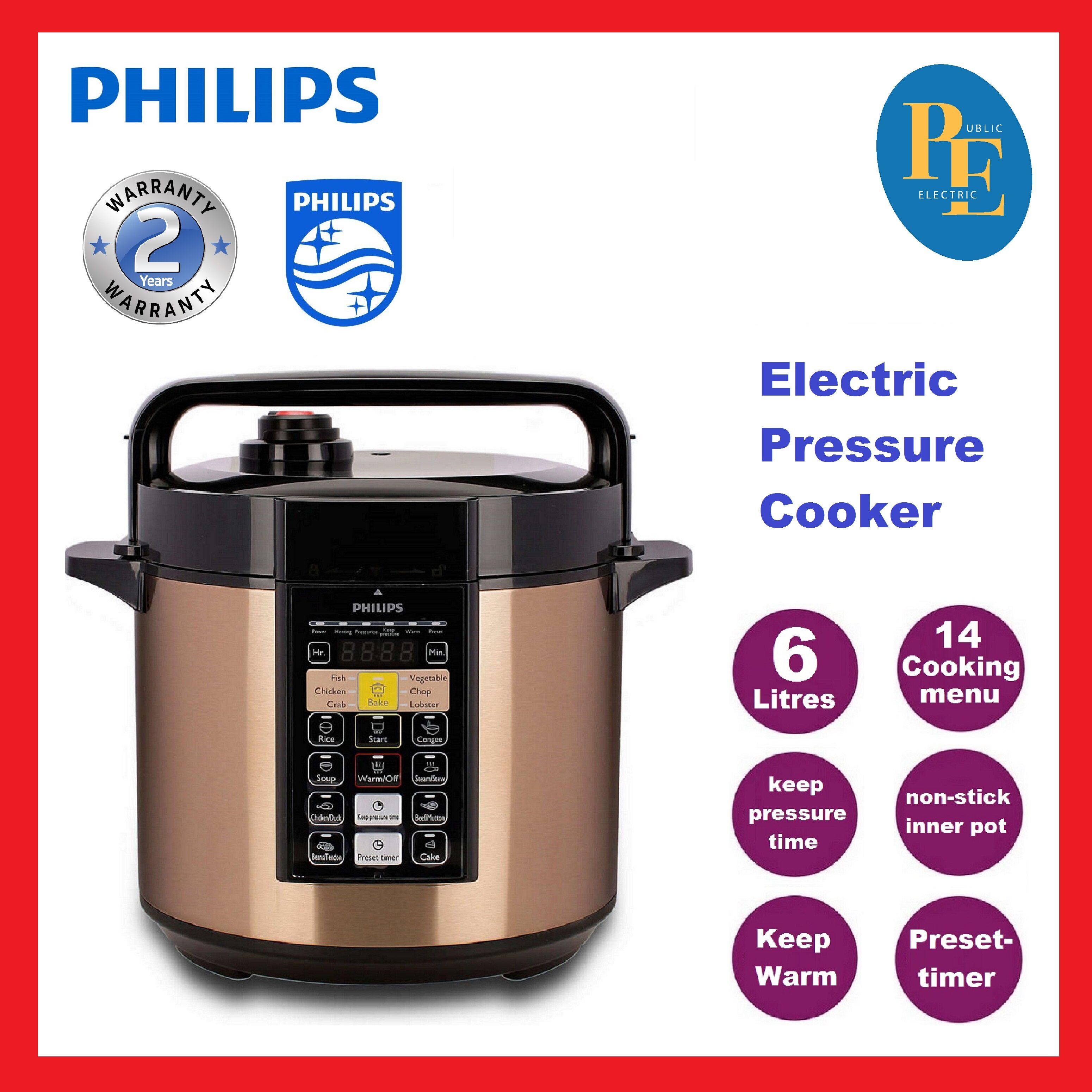 Philips ME Computerized Electric Pressure Cooker 6L - HD2139