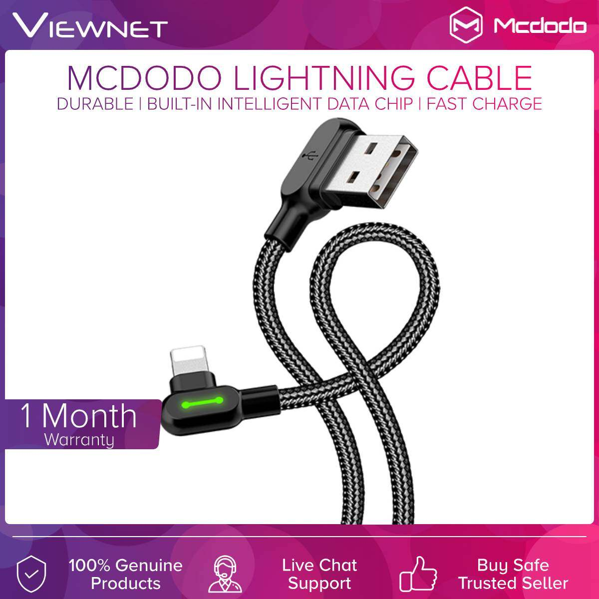 Mcdodo Lightning USB 90° 1.2M Black Cable With Reversible USB Interface Design, Charging Convenience And Built-in Intelligent Data Chip (CAB-CA467-1)
