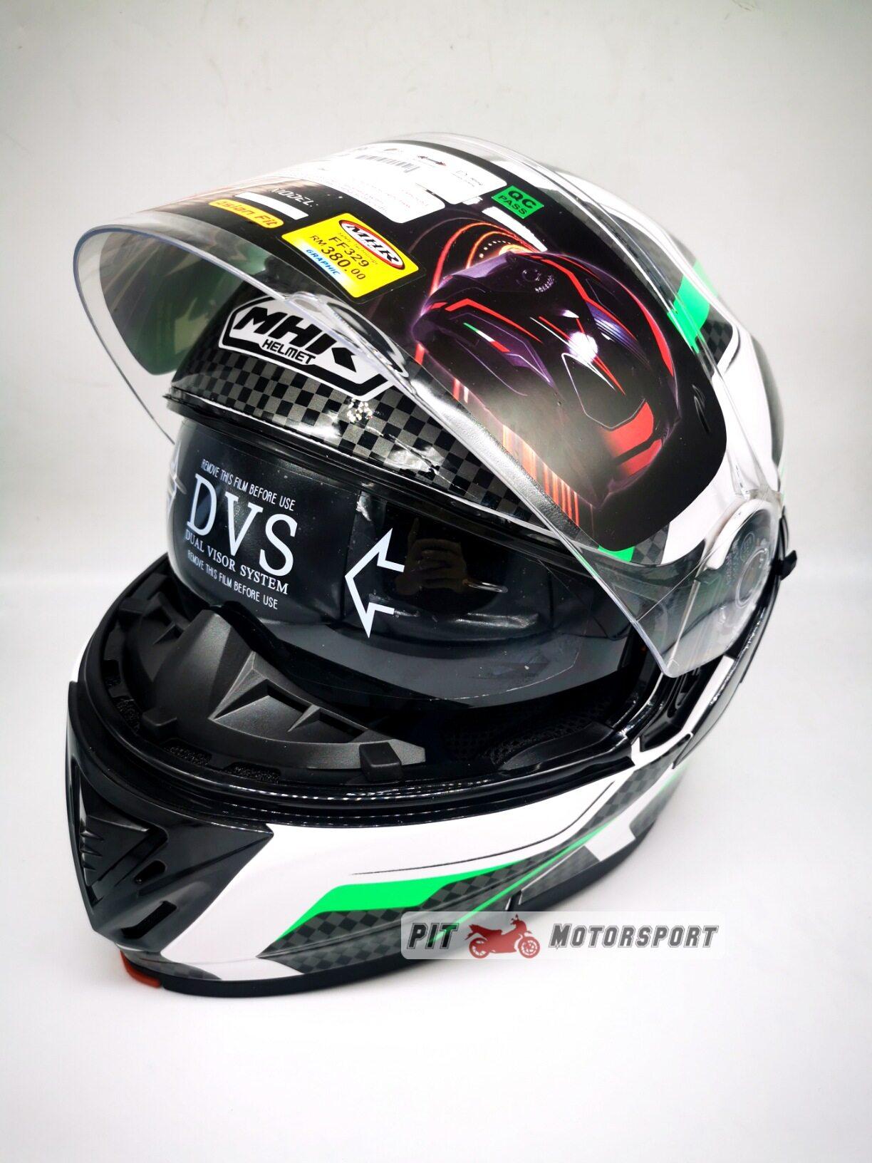 MHR Full Face Flip Up Double Visor Helmet New Design FF329 GT4 GP RACING Green Protect Protection Helmet Hijau
