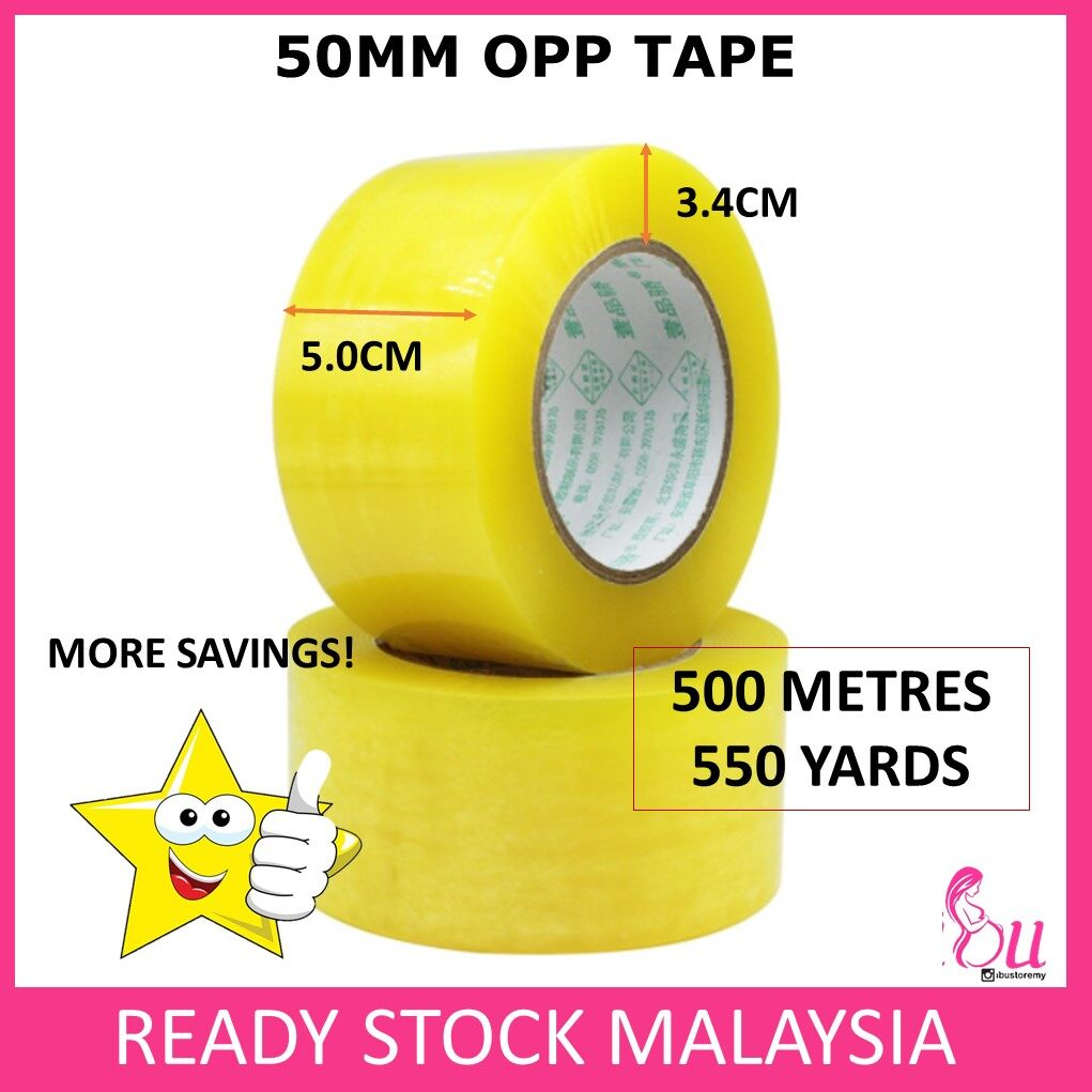 Thick OPP Tape 50mm OPP Tape Clear 5cm x 500-meter Transparent BOPP Tape Packing Adhesive Tapes Packaging Sticky Film