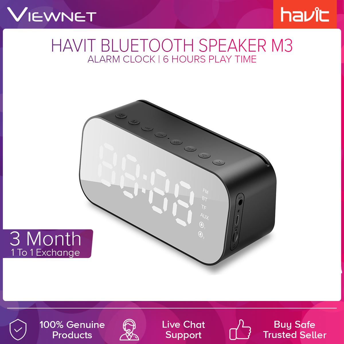 Havit M3 Wireless Bluetooth Speaker with Dual Alarm Clock LED LCD Screen 2-in-1 AUX Cable 6-Hour Play Time TF Card Slot Real-time Temperature No FM