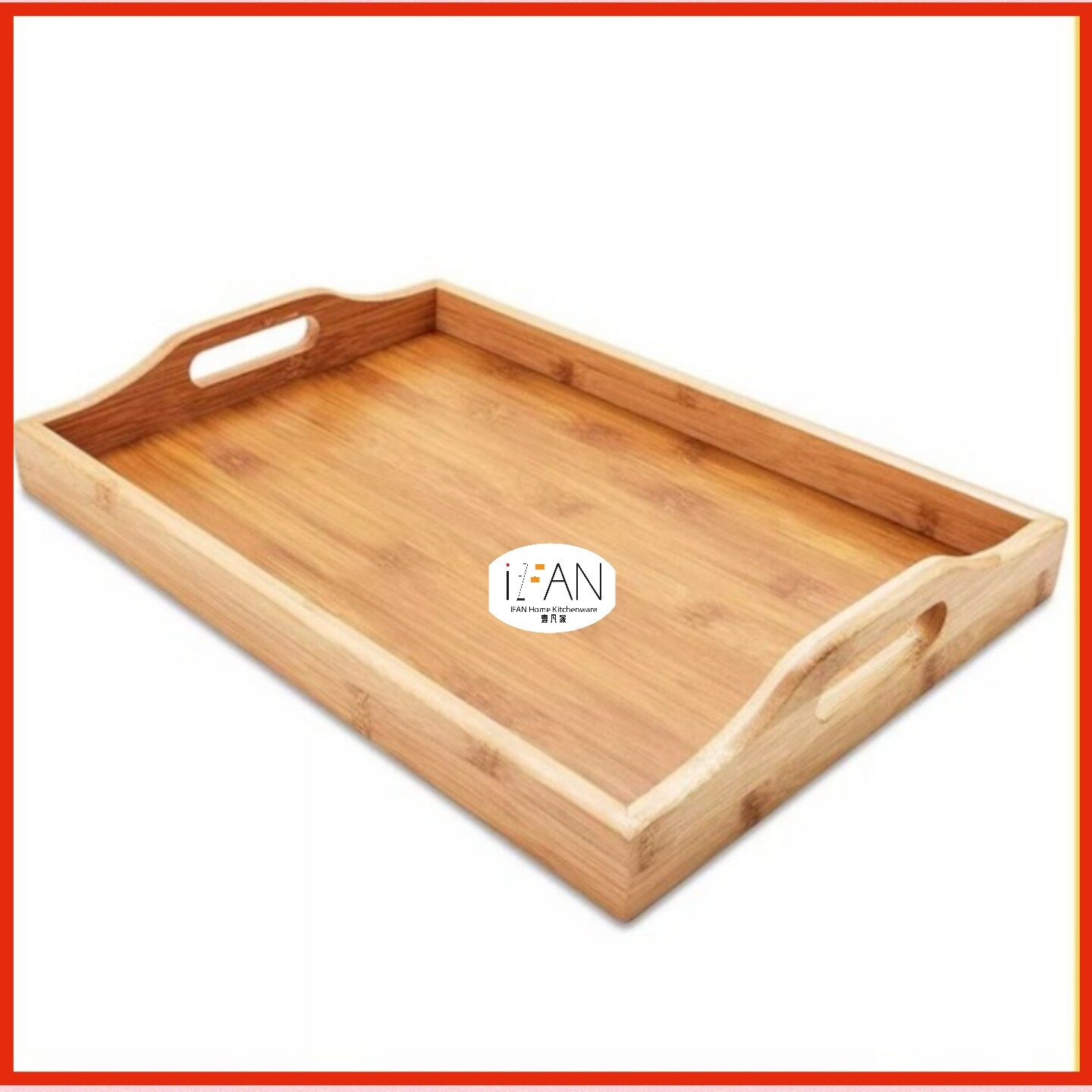 """IFAN HOME Rectangle Wooden Serving Tray, 18""""X11/19""""X12""""/20""""X14"""""""
