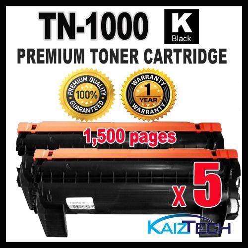 Brother TN-1000 5 Units Premium Toner Cartridge for HL-1110, HL1110 DCP-1510, DCP1510 MFC-1810, MFC1810 MFC-1815, MFC1815 HL-1210W, DCP-1610W MFC-1910W