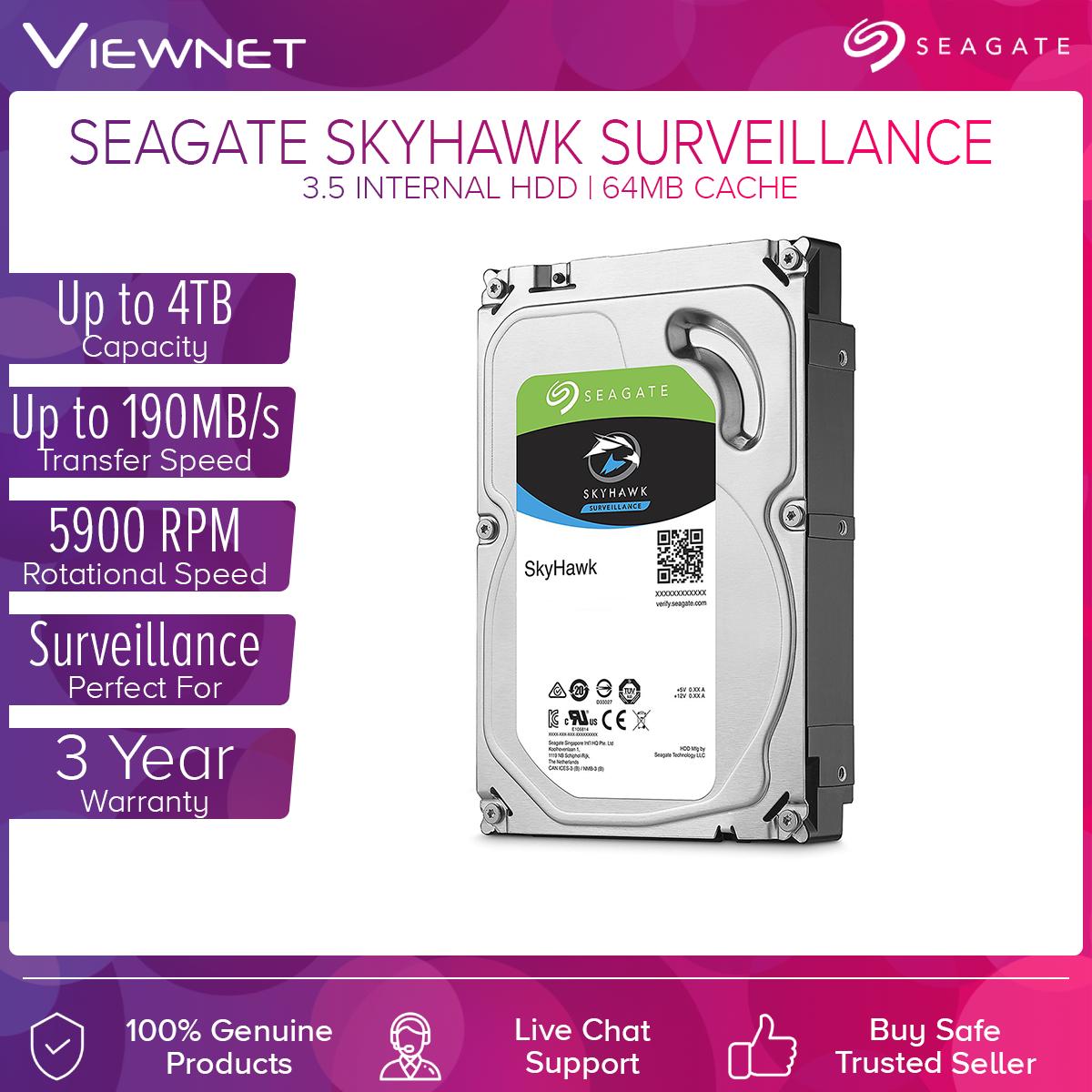 Seagate SkyHawk 1TB/2TB/3TB/4TB Surveillance Hard Drive - SATA 6Gb/s 64MB Cache 3.5