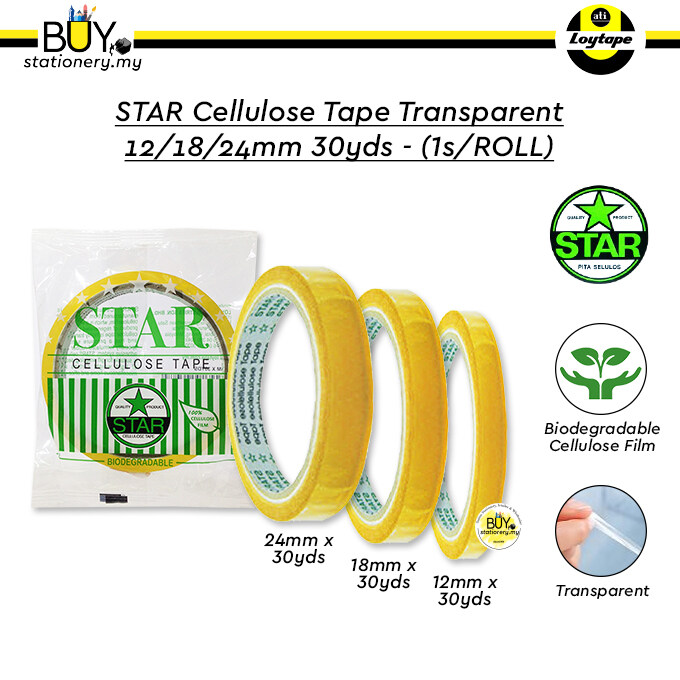 STAR Cellulose Tape Transparent 12/18/24mm 30yds - (1s/ROLL)