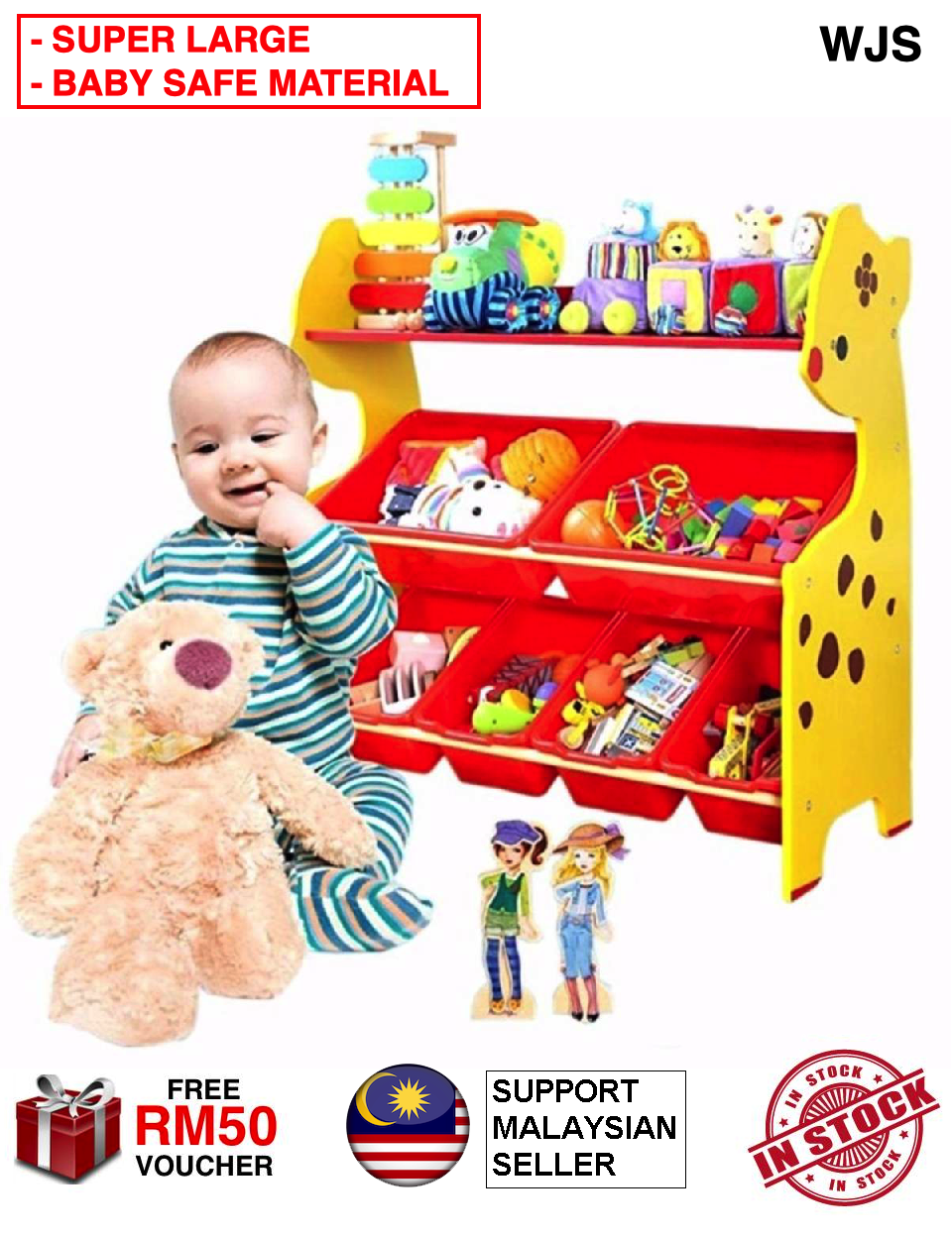 (FREE 6 BASKETS) WJS Genuine OnShine Kids Premium 3 Tiers Toy Organizer Toy Organiser Drawer Cupboard Wardrobe Toy Storage Toy Basket with 6 Colourful Storage Bin Giraffe RED [FREE RM 50 VOUCHER]