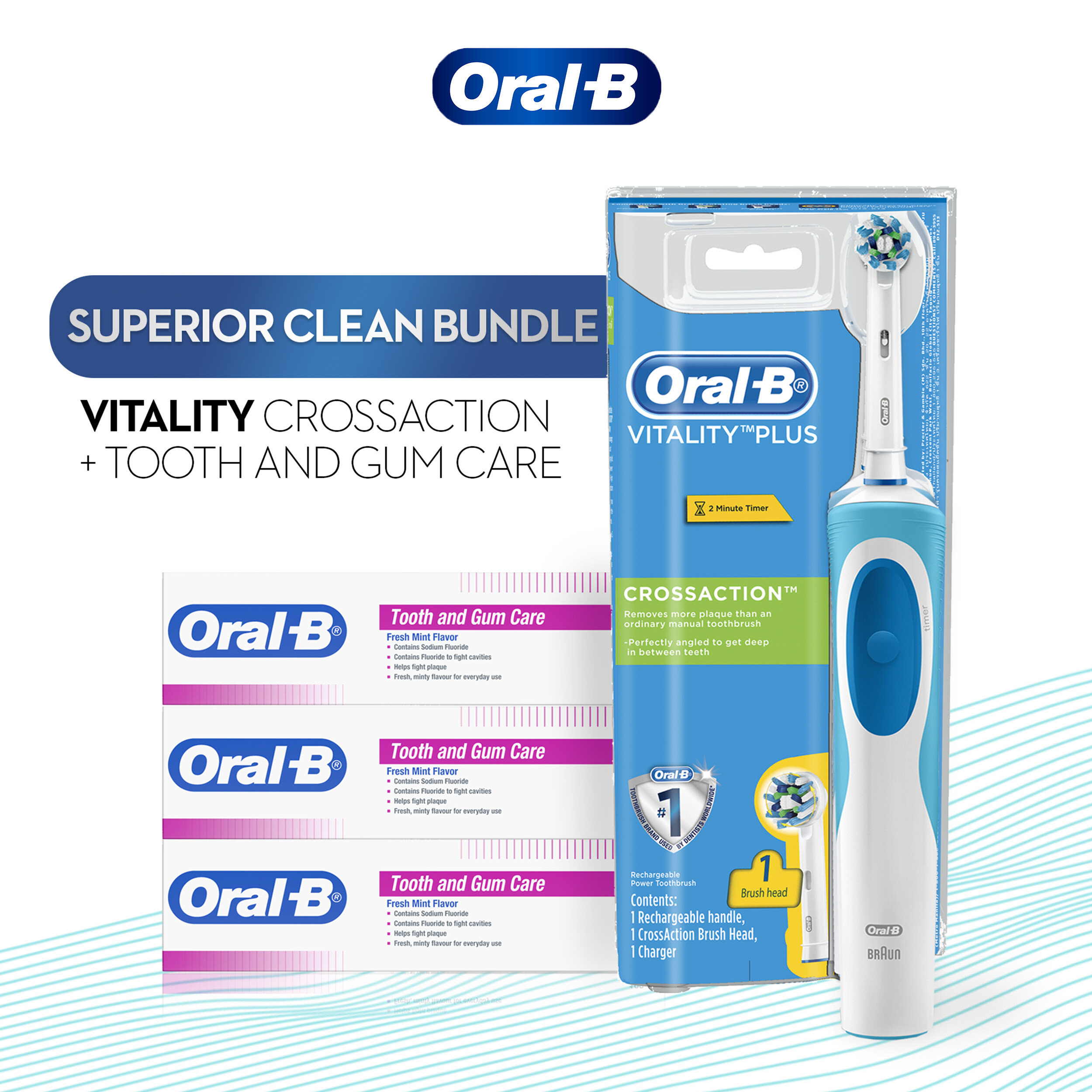 Oral-B Vitality Plus CrossAction Electric Toothbrush & Toothpaste 100ml x3