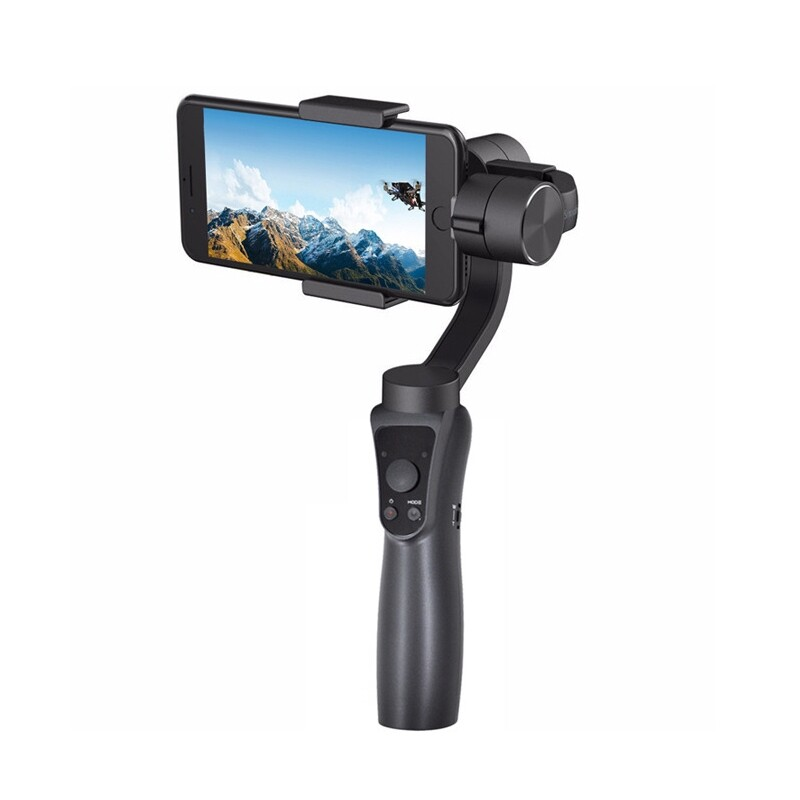 Sports & Action Cameras - S5 WIRELESS App Control Handheld Gimbal Stabilizer for Smart Phone under 6 Inch Sport Camera - BLACK