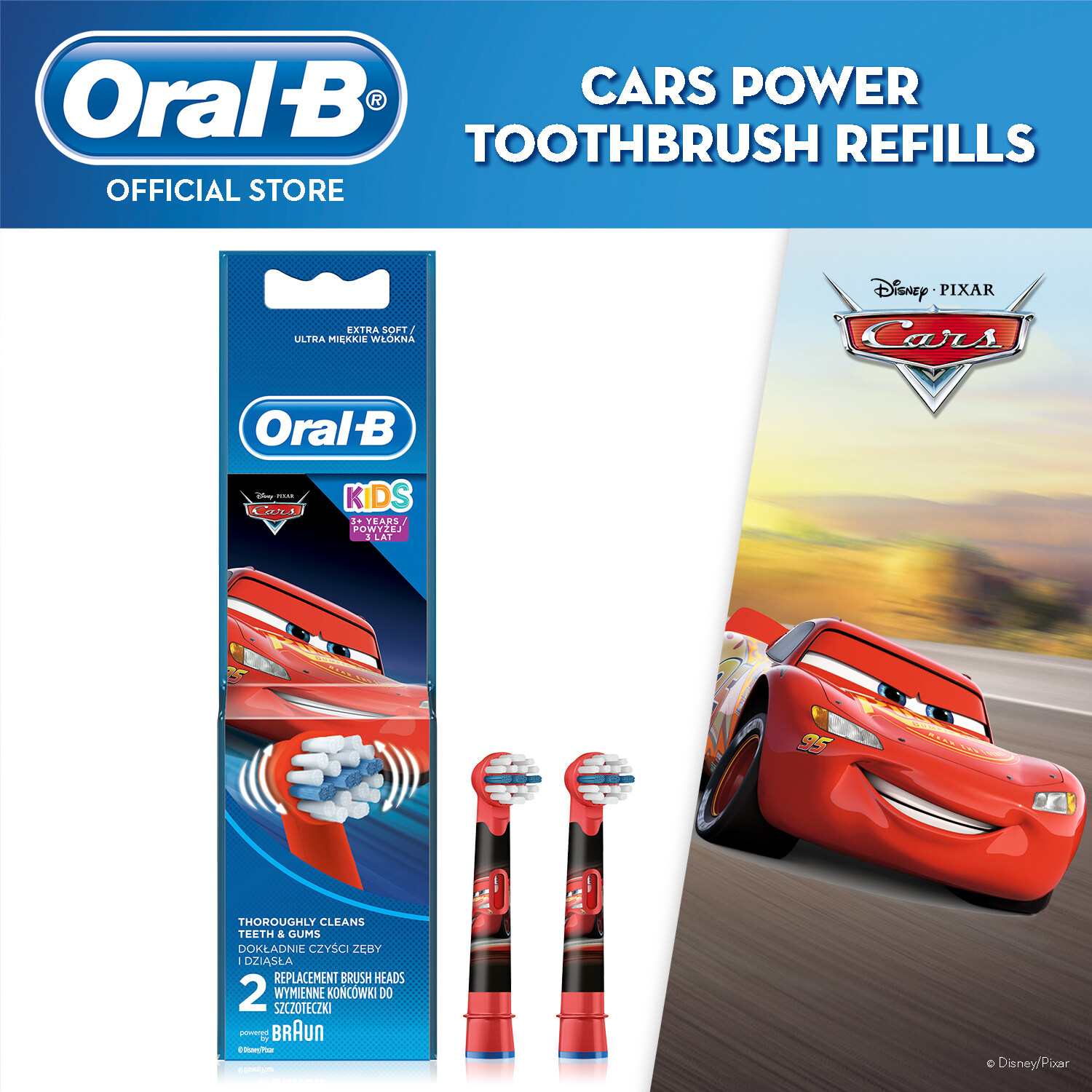 Oral-B Kids Cars Electric Toothbrush Replacament Brush Head Refill 2 count