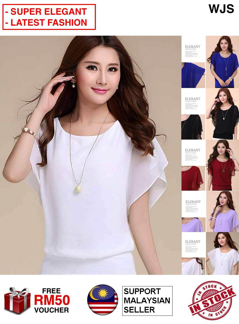 (NICE & SOFT CHIFFON) WJS Elegant Plus Size Korean Style Loose Short-sleeved Chiffon Shirt Summer Wear for Women New Style Large Size Slim Fit Slimming Base Blouse Tops MULTICOLOR UP TO 5XL [FREE RM 50 VOUCHER]