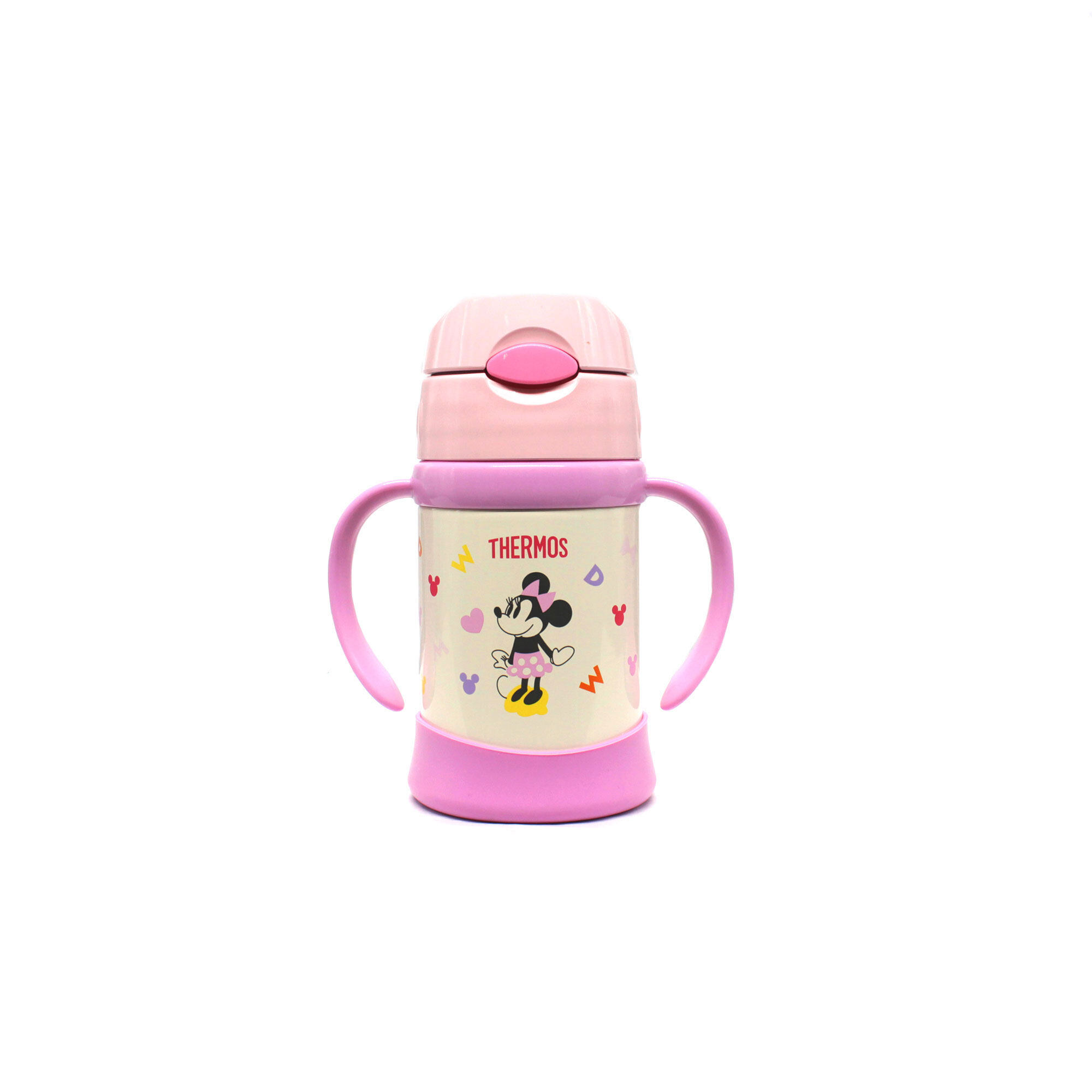 Disney Minnie 250Ml Thermos Stainless Steel Cippy Straw Cup With Handle- Pink Colour