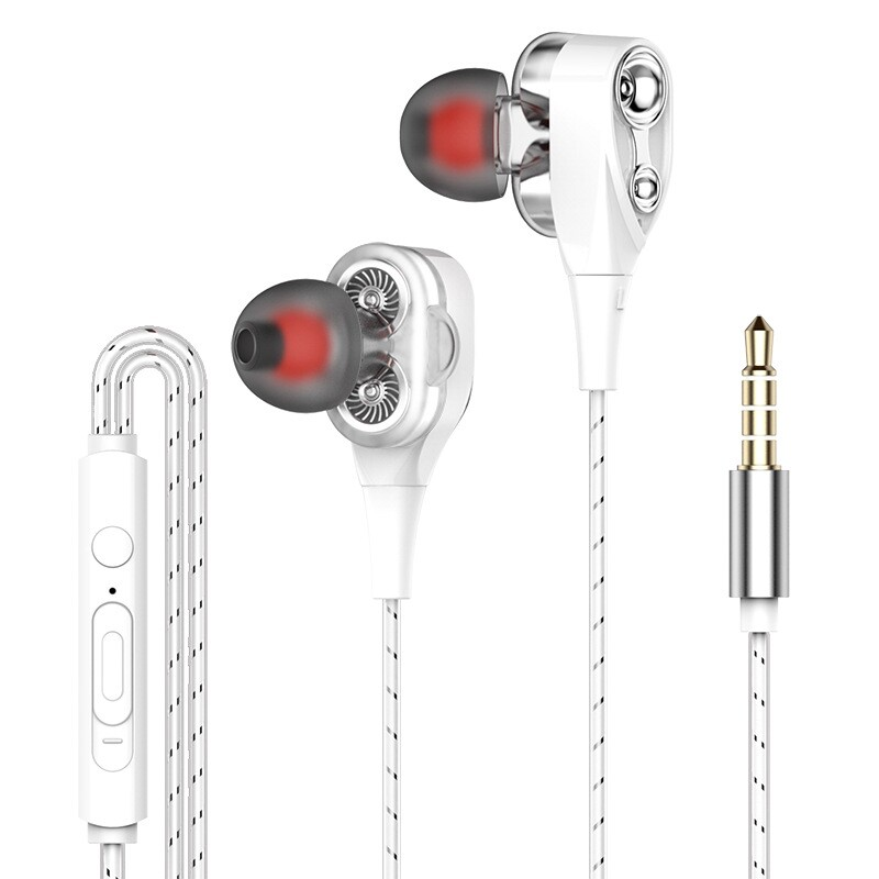 On-Ear Headphones - S1 Dual Dynamic Driver Stereo Wired Earphone In-ear Head SET Bass Gaming Earbuds for iPh huawei - GOLD / BLACK / WHITE / RED