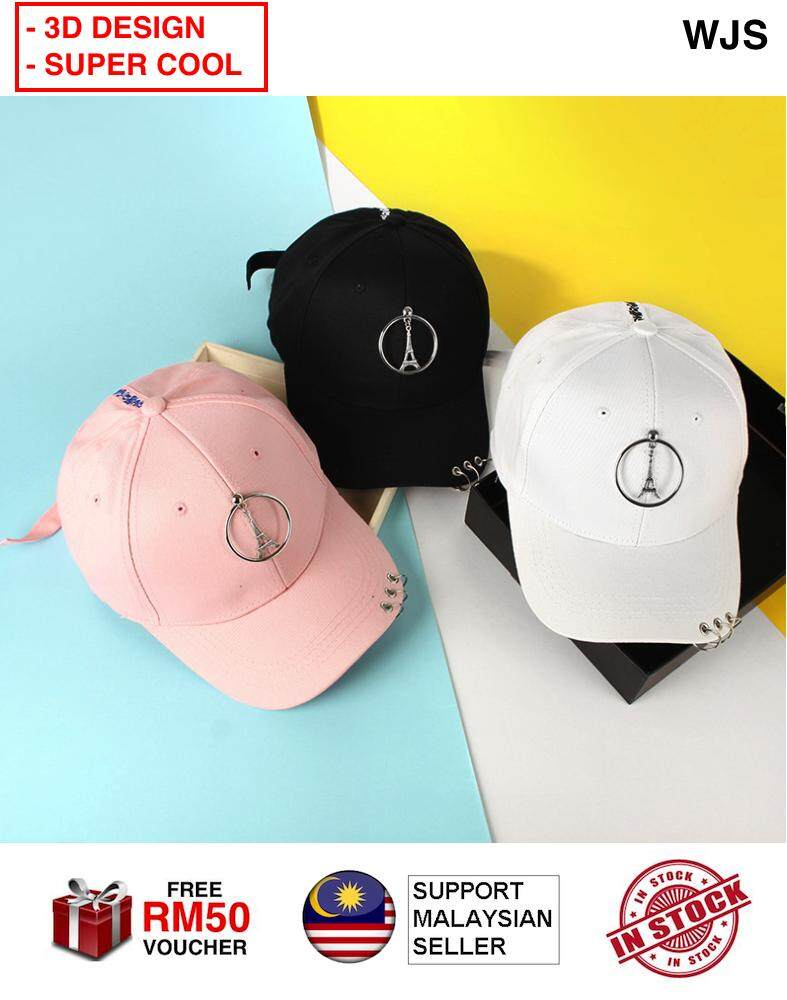 (3D DESIGN WITH RING) WJS 3D Design Eiffel Tower Baseball Cap For Women Paris Caps Snapback Hip Hop Hat Summer Cotton 3D Printed Eifel Tower BLACK PINK WHITE WITH RINGS [FREE RM 50 VOUCHER]