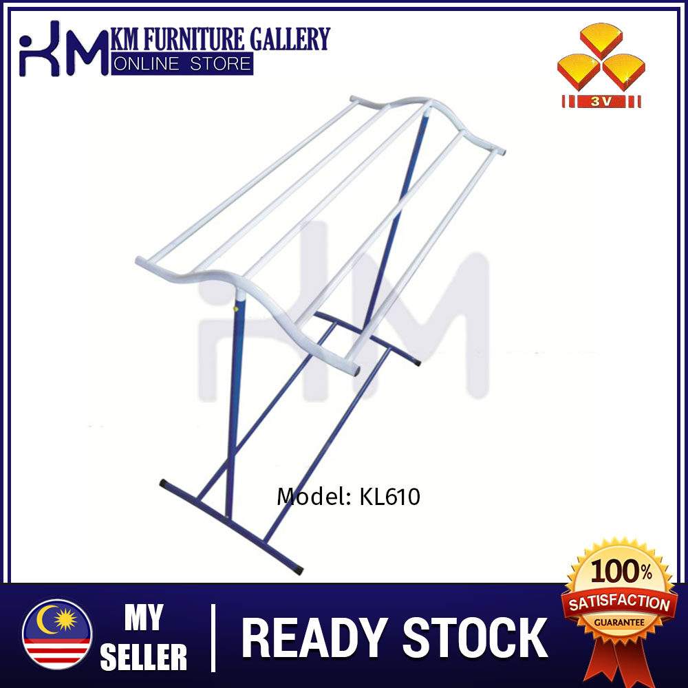 KM Furniture Gallery (KL-610)Epoxy Anti Rust Towel Hanger/ Clothes Dryer/ Towel Rack/ Indoor Outdoor Drying Rack/ Clothes Organizer/ Storage Rack/ Hanger Baju/ Hanger Tuala/ Ampaian Tuala Baju (Random Colour)
