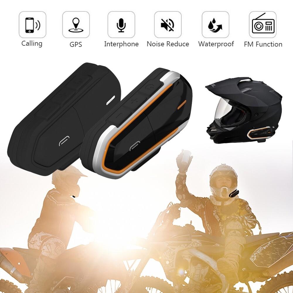 Moto Helmets - Motorcycle Helmet Interphone 1000M WIRELESS BLUETOOTH Stereo BT FM - ORANGE / BLACK