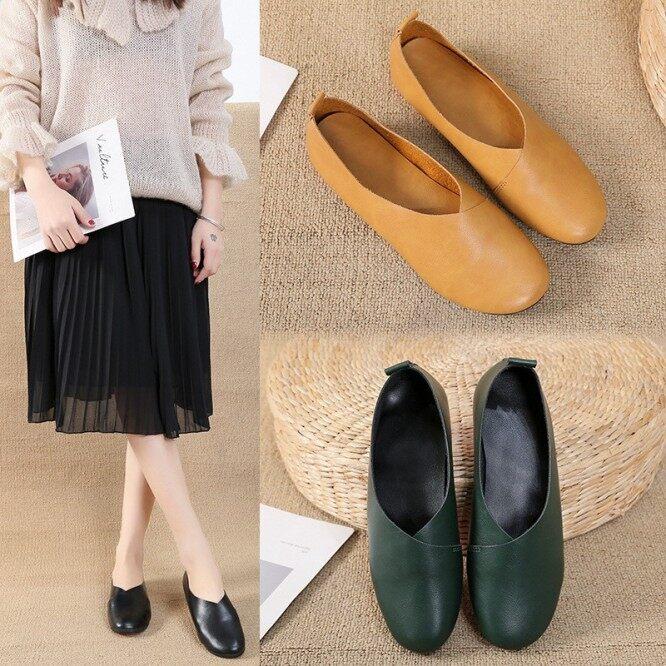 Giày cao gót đế thấp chống trượt thời trang cho Nữ, Giày xăng đan phong cách Hàn Quốc, đế bằng, chống trượt, mũi vuông cho mùa thu và mùa hè giá rẻ