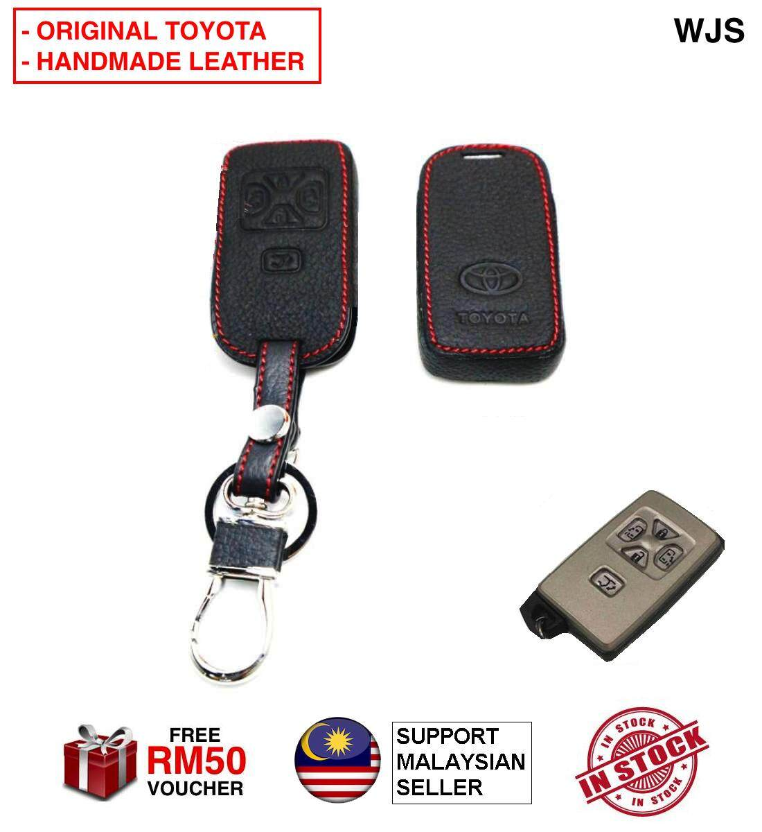 (ORIGINAL KEY LEATHER COVER) WJS Stainless Steel Toyota Estima Vellfire Alphard 2006-2012 Smart Key Leather Key Cover Case Keyless Remote Casing BLACK WITH STRAP [FREE RM 50 VOUCHER]
