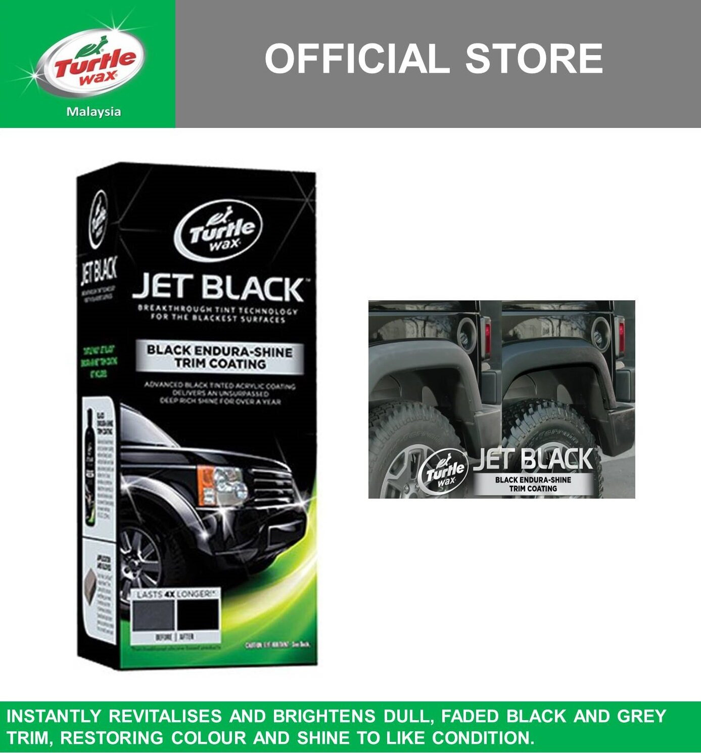 Turtle Wax Jet Black Black Endura-Shine Trim Coating T-128