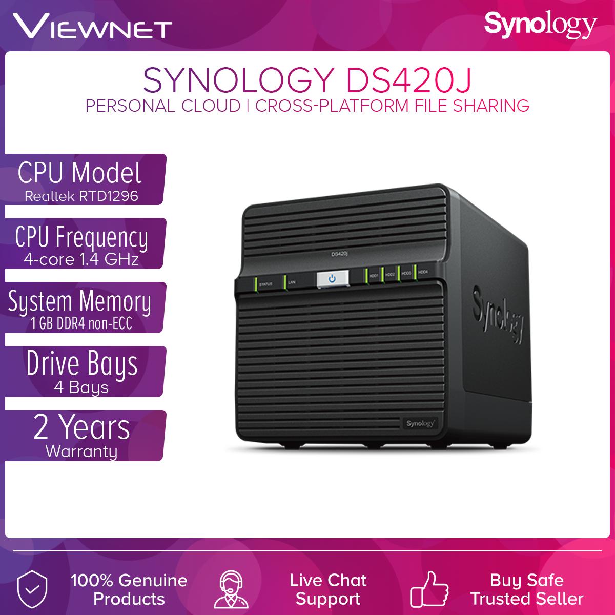 Synology Enclosure 4-BAYS/RealtekRTD1296 QC 1.4GHz/1GB DDR4 (DS420J) NAS