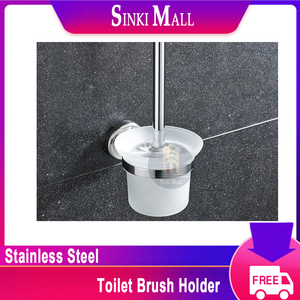SUS304 Stainless Steel Wall-Mounted Toilet Brush Set for  Toilet Bowl, Frosted-Glass Toilet Brush Holder Kit