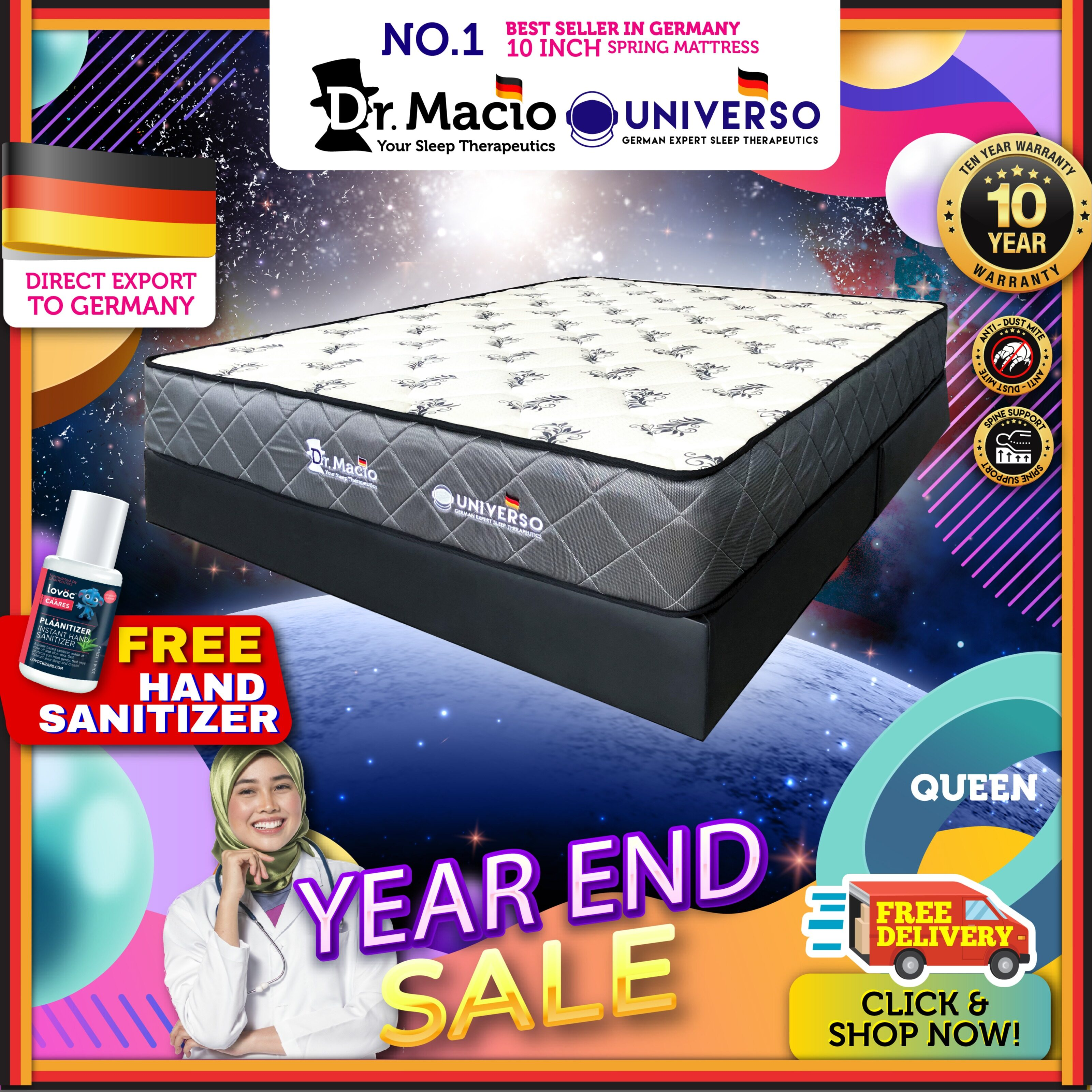 ( Free Shipping ) Dr Macio Universo 10 inch Queen Size Mattress Ready Stock / Tilam Dr.Macio 10 years warranty anti dustmite FREE pillow FREE gift [ Fast Delivery ] [ Deliver in CMCO ]