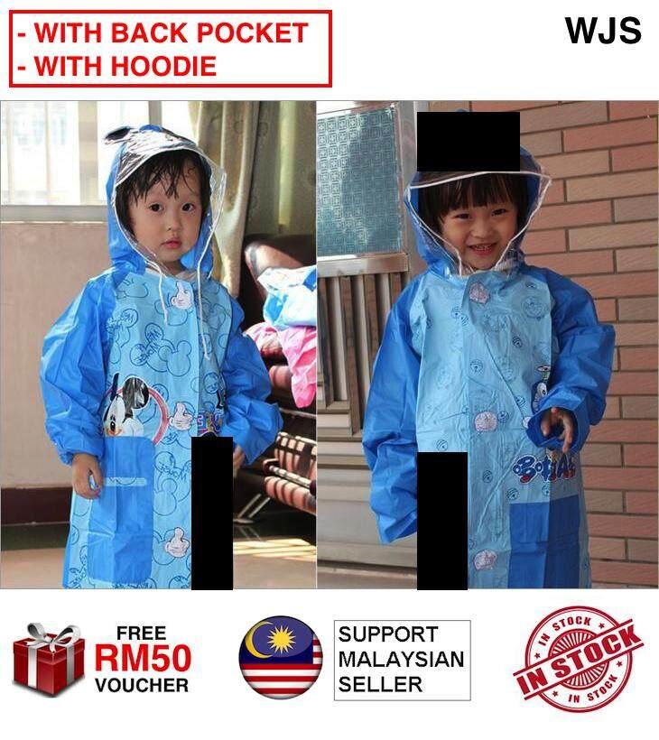 WJS M Mouse Lovely Kids Raincoat Cartoon Children Rain Wear Waterproof Rain Suit Rainwear Rain Wear Umbrella Suit BLUE PINK [FREE RM 50 VOUCHER]