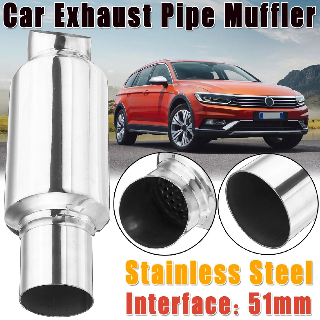 Car Lights - 51mm 2\'\' Inlet Car Universal Exhaust Pipe Muffler Silencer Bent Stainless Steel - Replacement Parts