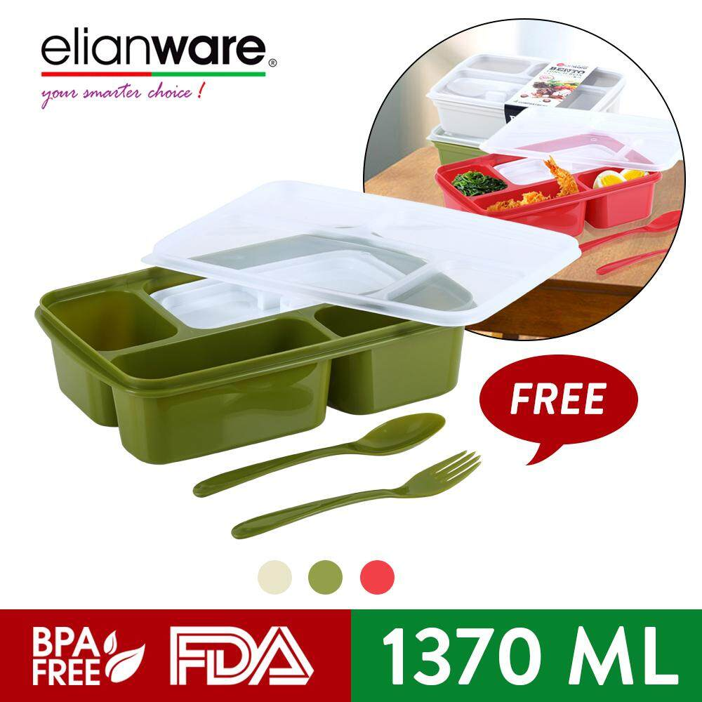 Elianware Portable Divided 4 Compartments Bento Lunch Box with Fork & Spoon (1.37L)