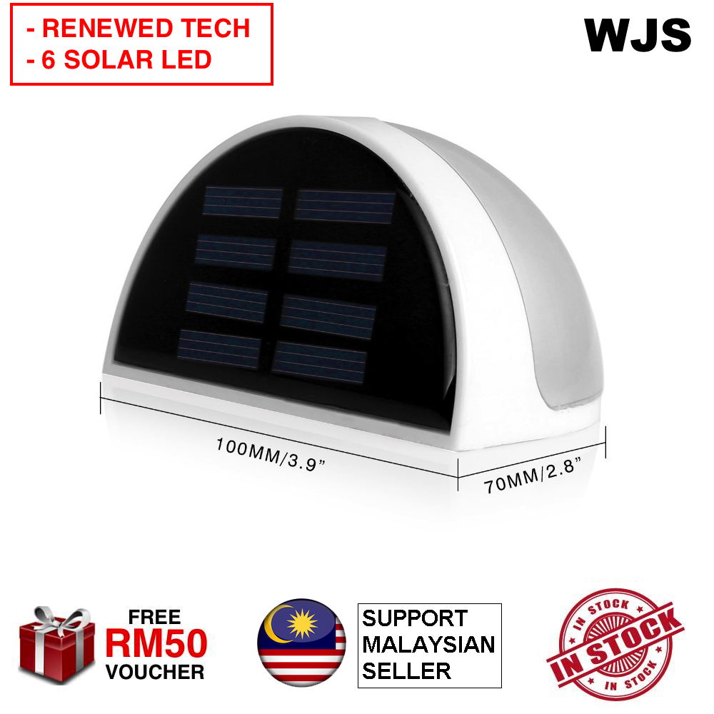 (6 POWERED LED) WJS Waterproof Outdoor Solar Powered 6 Led LED Wall Light Fence Stair Garden Light Sensor Lamp Garden LED Street Light Wall LED WHITE YELLOW [FREE RM 50 VOUCHER]