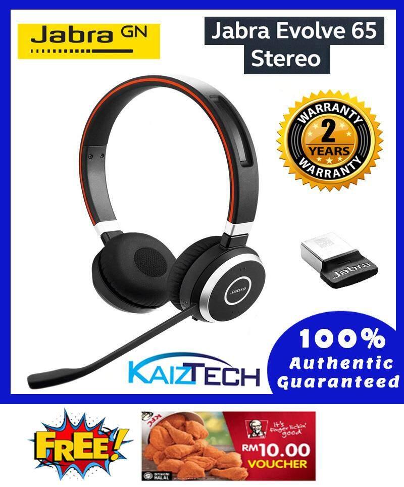 Jabra Evolve 65 MS Stereo Wireless Bluetooth Headset / Music Headphones Includes Link 360