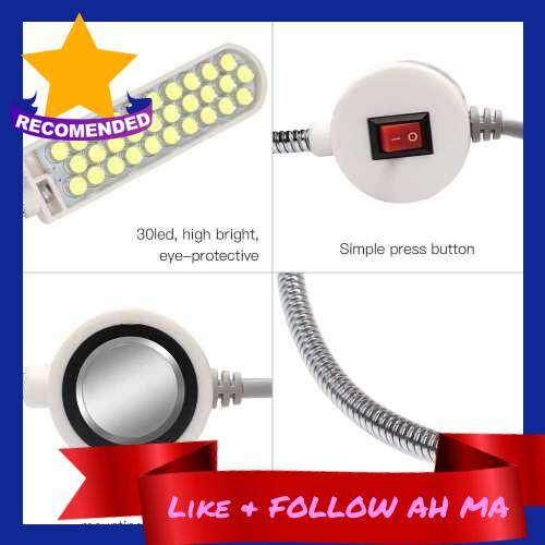 Best Selling AC110-265V 2W 30LED Sewing Machine Light Lamp Magnetic Fixed Base Flexible Bendable Tube Goose Neck Design for Housework Household Duties Chores (Eu2)