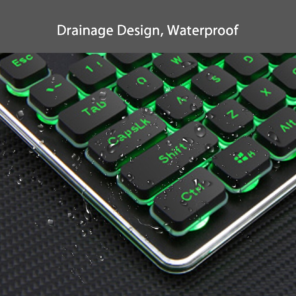 Keyboards - Rechargeable 2.4G WIRELESS Luminous Ergonomic Gaming Keyboard - SILVERY WHITE BLUE / DARK GREEN
