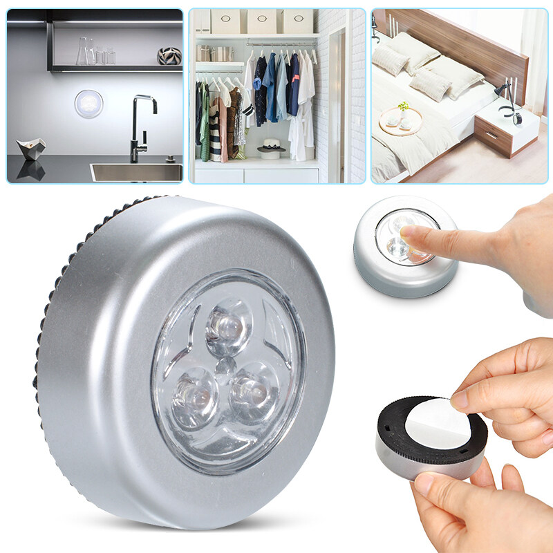 LED Wireless Night Light, Battery-powered Stick-on Tap Touch Lamp, Bedroom Cordless Touch Light for Closets, Cabinets, Counters, or Utility Rooms
