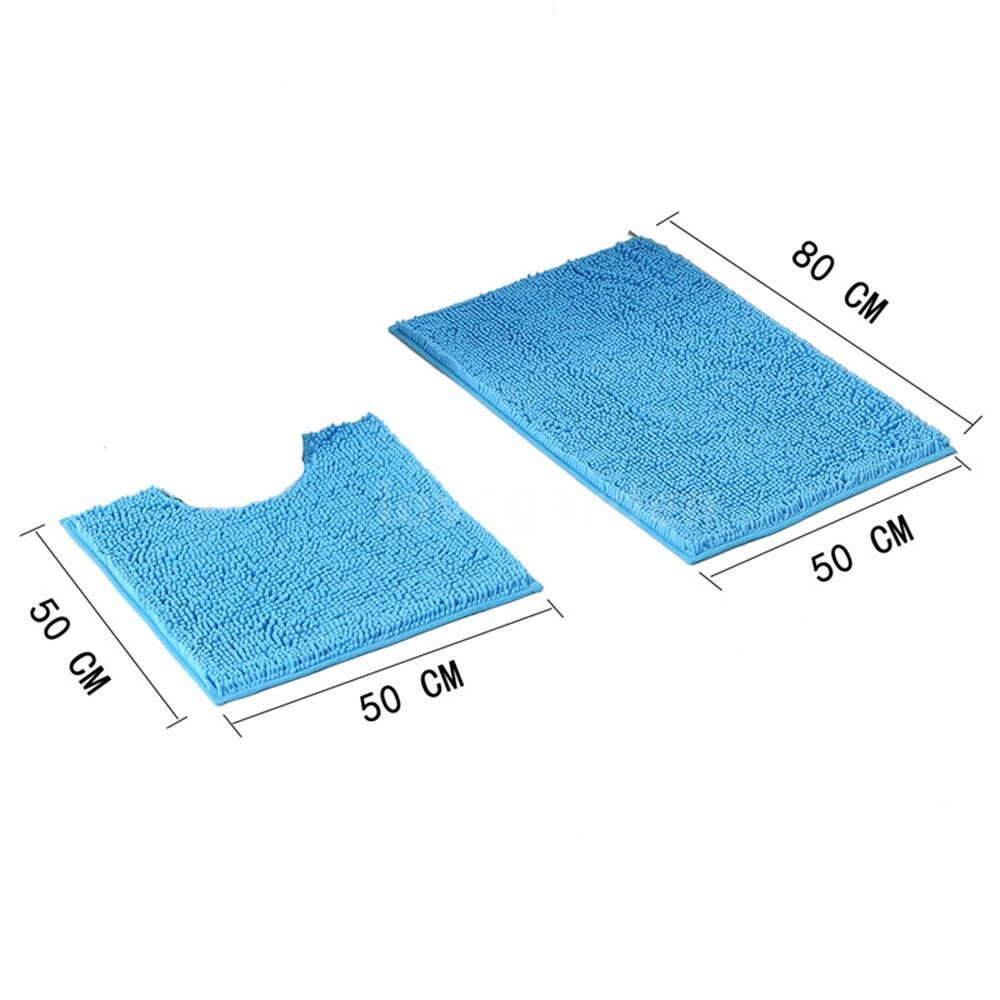 Rugs & Carpets - 2 PIECE(s) Microfiber Bath Rugs Chenille Plush Floor Mat Carpet Soft Indoor Washable - PINK / BLUE / LIGHT BLUE / BEIGE / GREY / DARK GREY / CAMEL