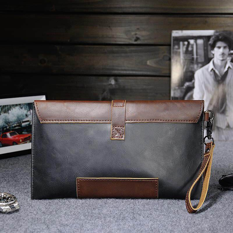 [M'sia warehouse Direct] 2020 Korean Series Men's Leather Handcarry Bag With String Fengshui Clutch Bag Can Fit Iphone Any Android Mobile Long Purse Perfect Gift For Love One Multifunctional Portable Bag Card Holder Dompet Panjang Kulit Dompet Halal