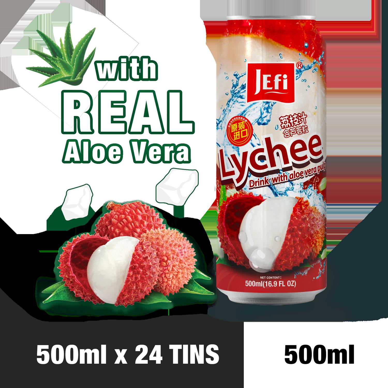 JEFI Lychee Drink with Aloe Vera Pulp (500ml x 24tins)